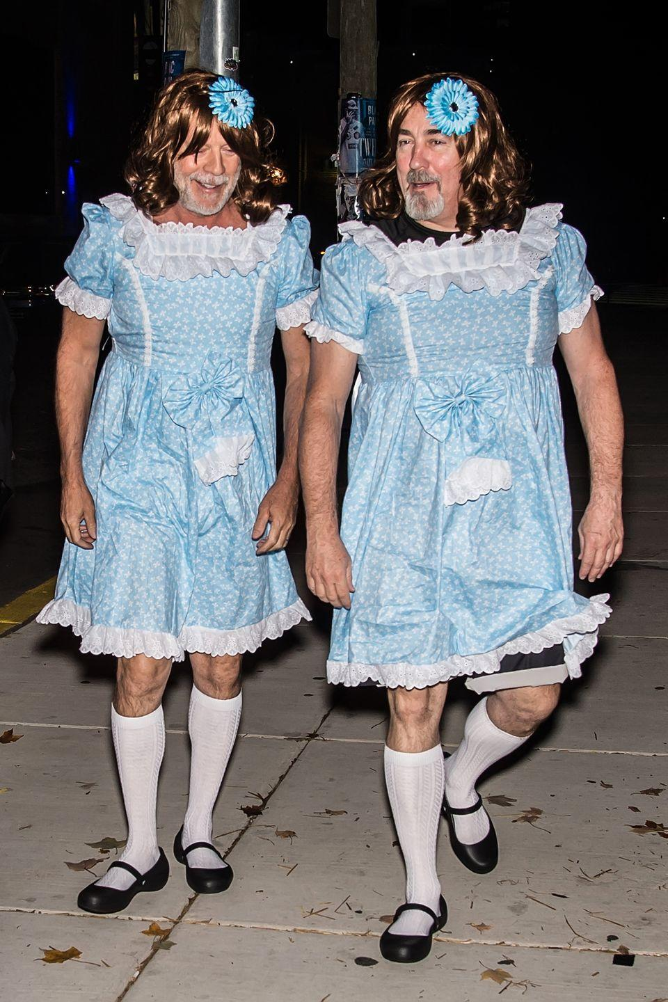 <p>Bruce Willis and assistant Stephen Eads as the Grady twins from <em>The Shining.</em></p>