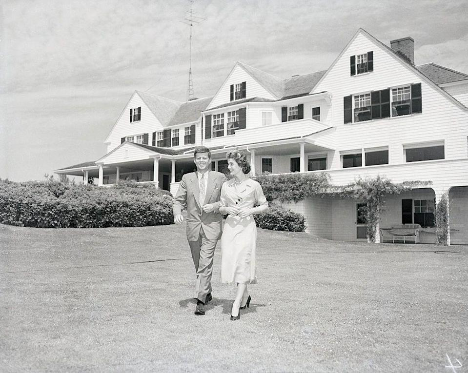 """<p>The public has always been fascinated with the Kennedy family compound, which JFK frequented when he was President. The property consists of three white clapboard houses on a <a href=""""https://househistree.com/houses/kennedy-compound"""" rel=""""nofollow noopener"""" target=""""_blank"""" data-ylk=""""slk:six-acre waterfront lot"""" class=""""link rapid-noclick-resp"""">six-acre waterfront lot</a> on Cape Cod. </p>"""