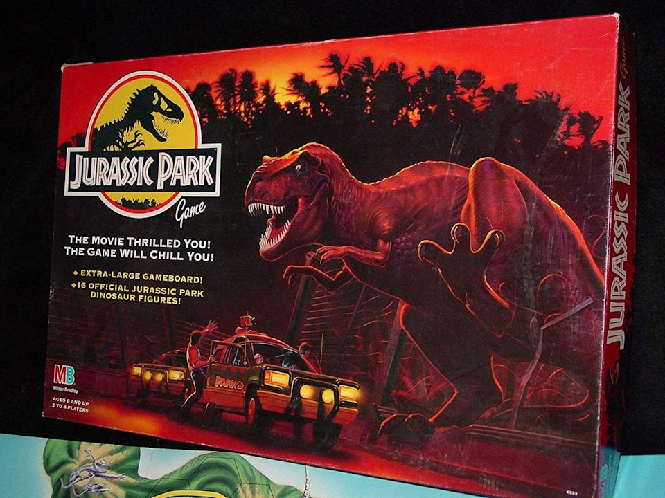 """<p><em>Jurassic Park</em> was a huge deal when it came out in 1993, and the toys made to promote the franchise are worth a fortune. This board game alone sells for <a href=""""https://www.amazon.com/Jurassic-Park-Game-Milton-Bradley/dp/B0021PO1KC?tag=syn-yahoo-20&ascsubtag=%5Bartid%7C2089.g.29248880%5Bsrc%7Cyahoo-us"""" rel=""""nofollow noopener"""" target=""""_blank"""" data-ylk=""""slk:$200"""" class=""""link rapid-noclick-resp"""">$200</a>, but you can find entire collections selling for as much as <a href=""""https://www.ebay.com/itm/Once-in-a-Life-Time-Kenner-Jurassic-Park-1992-Assorted-COMPLETE-Toy-Collection/332380005770?hash=item4d6364658a:g:mJ8AAOSwQG5Zu0ka"""" rel=""""nofollow noopener"""" target=""""_blank"""" data-ylk=""""slk:$14,499"""" class=""""link rapid-noclick-resp"""">$14,499</a>. </p>"""