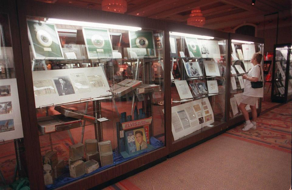 "<p>In 2014, many of Elvis's private and personal items—from concert memorabilia to receipts—went up for <a href=""https://www.liveauctioneers.com/news/top-news/shows-events/rare-elvis-items-entered-in-first-ever-auction-at-graceland-aug-14/"" rel=""nofollow noopener"" target=""_blank"" data-ylk=""slk:auction at Graceland"" class=""link rapid-noclick-resp"">auction at Graceland</a>. Among the biggest ticket items was the original script from <em>Love Me Tender</em> and his 1976 Cadillac Seville. </p>"