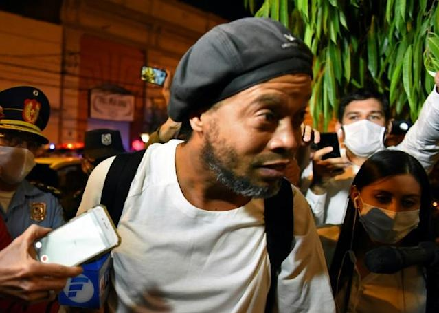 Ronaldinho was released from prison to house arrest at a luxury hotel in Asuncion on April 7 (AFP Photo/Norberto DUARTE)