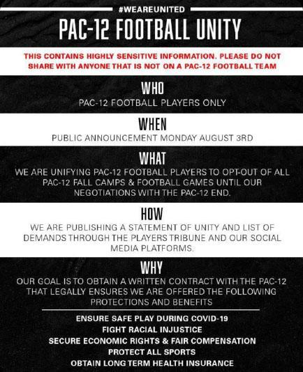 Pac-12 players' football unity notice.