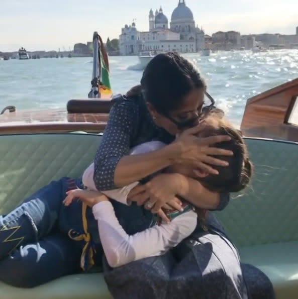 "<p>It was a sail-and-smooch kind of day trip for <a href=""https://www.yahoo.com/celebrity/tagged/salma-hayek/"" data-ylk=""slk:Salma Hayek"" class=""link rapid-noclick-resp"">Salma Hayek</a>, who sweetly cradled her only daughter, 9-year-old Valentina Pinault. She posted this in honor of Mother's Day in Mexico, which is a few days before when the U.S. celebrates this year. (Photo: <a href=""https://www.instagram.com/p/BT6t1VbB7Cm/?taken-by=salmahayek&hl=en"" rel=""nofollow noopener"" target=""_blank"" data-ylk=""slk:Salma Hayek via Instagram"" class=""link rapid-noclick-resp"">Salma Hayek via Instagram</a>) </p>"
