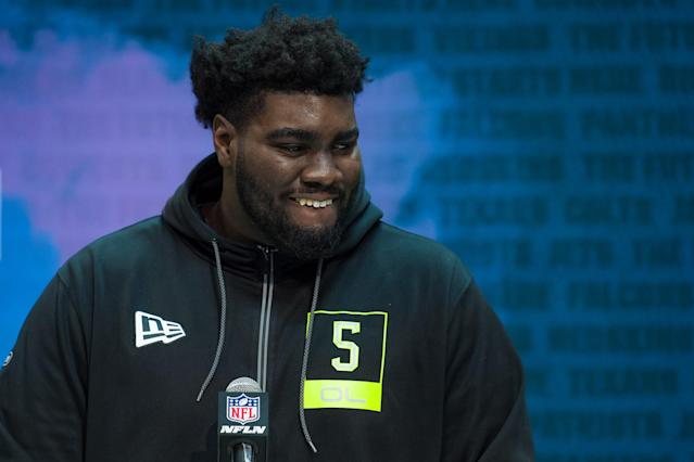Louisville OT Mekhi Becton could make Giants general manager Dave Gettleman swoon. (Photo by Zach Bolinger/Icon Sportswire via Getty Images)