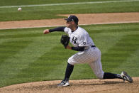 New York Yankees starting pitcher Corey Kluber throws during the eighth inning of a baseball game against the Detroit Tigers at Yankee Stadium, Sunday, May 2, 2021, in New York. (AP Photo/Seth Wenig)