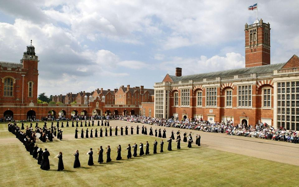 Students beating the retreat on the last day of term at Christ's Hospital school - Andrew Crowley for The Telegraph