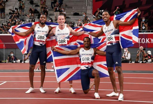 Ujah, third from left, with his silver medal-winning relay team-mates Nethaneel Mitchell-Blake, Richard Kilty and Zharnel Hughes