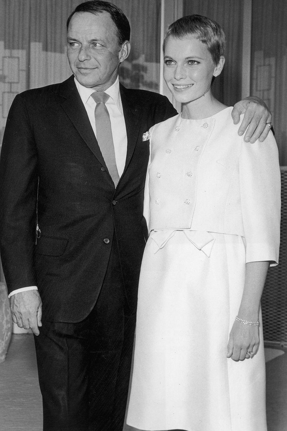 <p>Daring in its simplicity, Mia Farrow's dress was paired with a matching cropped jacket with a bow around the waist when she became Frank Sinatra's third wife at their private wedding in Las Vegas, Nevada. Just 21 at the time, her newly cropped hair might have stolen the spotlight.</p>