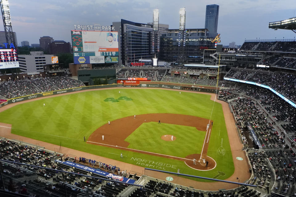 Truist Park is shown during a baseball game between the Chicago Cubs and the Atlanta Braves Thursday, April 29, 2021, in Atlanta. (AP Photo/John Bazemore)