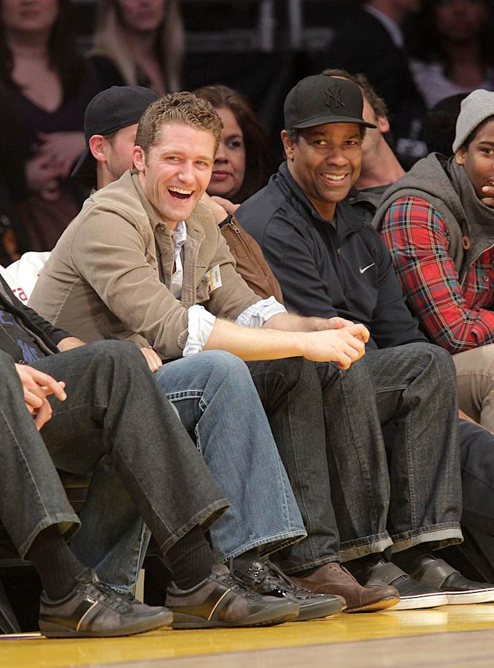 """The West Coast vs. East Coast rivalry attracted lots of celebs including """"Glee's"""" Matthew Morrison and Denzel Washington. Although Denzel is a Lakers fan, for some reason he always sports a Yankees cap to the games! Noel Vasquez/<a href=""""http://www.gettyimages.com/"""" target=""""new"""">GettyImages.com</a> - January 9, 2011"""
