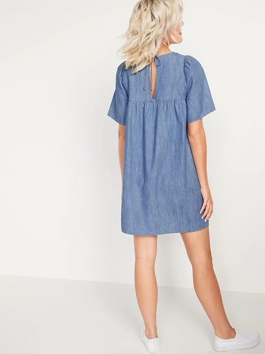 <p>This casual <span>Old Navy Chambray Tie-Back Swing Dress</span> ($45) keeps you cool and comfy while running around town.</p>