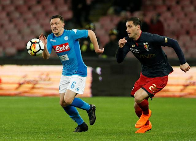 Soccer Football - Serie A - Napoli vs Genoa - Stadio San Paolo, Naples, Italy - March 18, 2018 Napoli's Mario Rui in action with Genoa's Aleandro Rosi REUTERS/Ciro De Luca