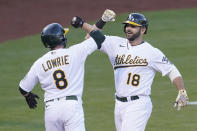 Oakland Athletics' Mitch Moreland (18) celebrates after hitting a two-run home run that scored Jed Lowrie (8) during the second inning of a baseball game against the Toronto Blue Jays in Oakland, Calif., Tuesday, May 4, 2021. (AP Photo/Jeff Chiu)