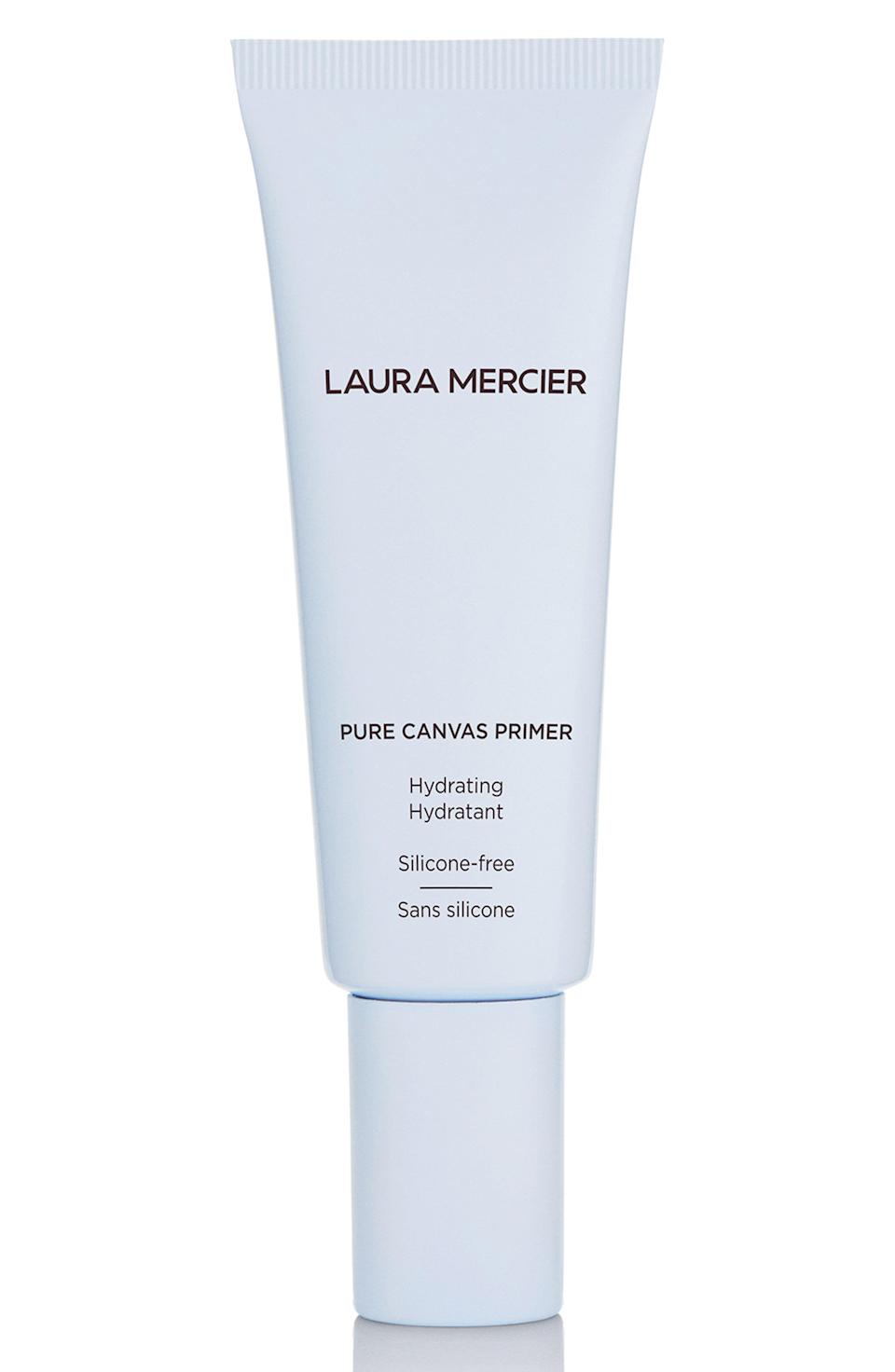 "<p><strong>Laura Mercier </strong></p><p>nordstrom.com</p><p><strong>$39.00</strong></p><p><a href=""https://go.redirectingat.com?id=74968X1596630&url=https%3A%2F%2Fwww.nordstrom.com%2Fs%2Flaura-mercier-hydrating-pure-canvas-primer%2F5481804&sref=https%3A%2F%2Fwww.harpersbazaar.com%2Fbeauty%2Fmakeup%2Fg36301952%2Fsilicone-free-makeup-primers%2F"" rel=""nofollow noopener"" target=""_blank"" data-ylk=""slk:Shop Now"" class=""link rapid-noclick-resp"">Shop Now</a></p><p>Laura Mercier's Pure Canvas Primer might be one of the most well known silicone-free formulas out there. It uses olive extract for skin-smoothing, and feels like an extra layer of skincare once you apply it.</p>"