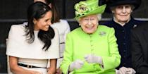 <p>The queen looked thrilled to sit and chat with her grand-daughter-in-law Meghan Markle. The pair were in Chester, England for a ceremony in honor of the opening of the new Mersey Gateway Bridge. </p>