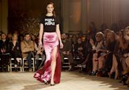 """<p>At Christian Siriano, a T-shirt that read """"People are people"""" promoted ideals of equality and inclusion. (Photo: AP Images) </p>"""