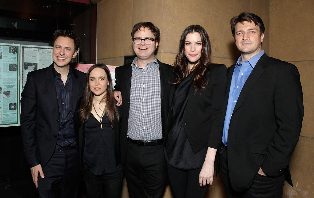 """<a href=""""http://movies.yahoo.com/movie/contributor/1800013738"""">James Gunn</a>, <a href=""""http://movies.yahoo.com/movie/contributor/1808438069"""">Ellen Page</a>, <a href=""""http://movies.yahoo.com/movie/contributor/1804471845"""">Rainn Wilson</a>, <a href=""""http://movies.yahoo.com/movie/contributor/1800019265"""">Liv Tyler</a> and <a href=""""http://movies.yahoo.com/movie/contributor/1804371996"""">Nathan Fillion</a> at the Los Angeles premiere of <a href=""""http://movies.yahoo.com/movie/1810167552/info"""">Super</a> on March 21, 2011."""