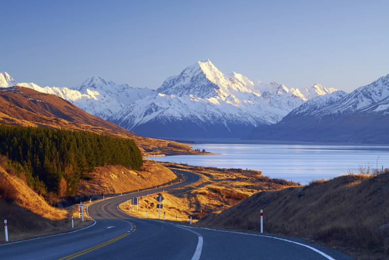 Winding road leading to Mount Cook Village, Canterbury, South Island, New Zealand. (PHOTO: Nur Ismail Photography, Getty Images)