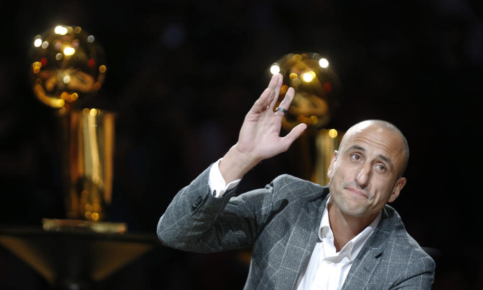 Manu Ginobili retired from the San Antonio Spurs as a player in 2018. (Ronald Cortes/Getty Images)