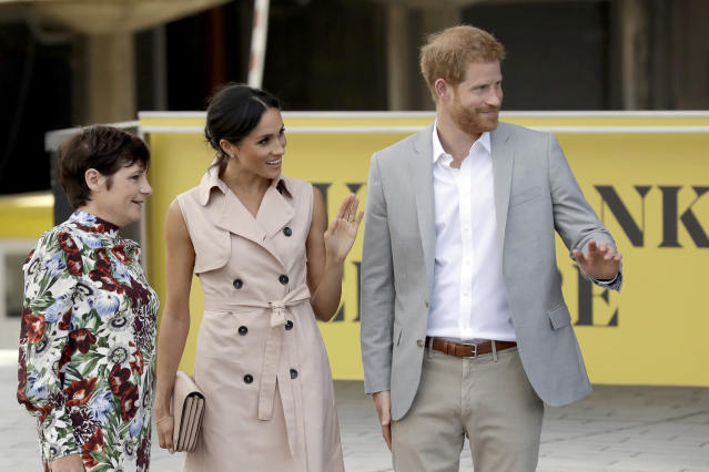 Meghan Markle's trench dress is by Nonie. (Photo: AP Photo/Matt Dunham)