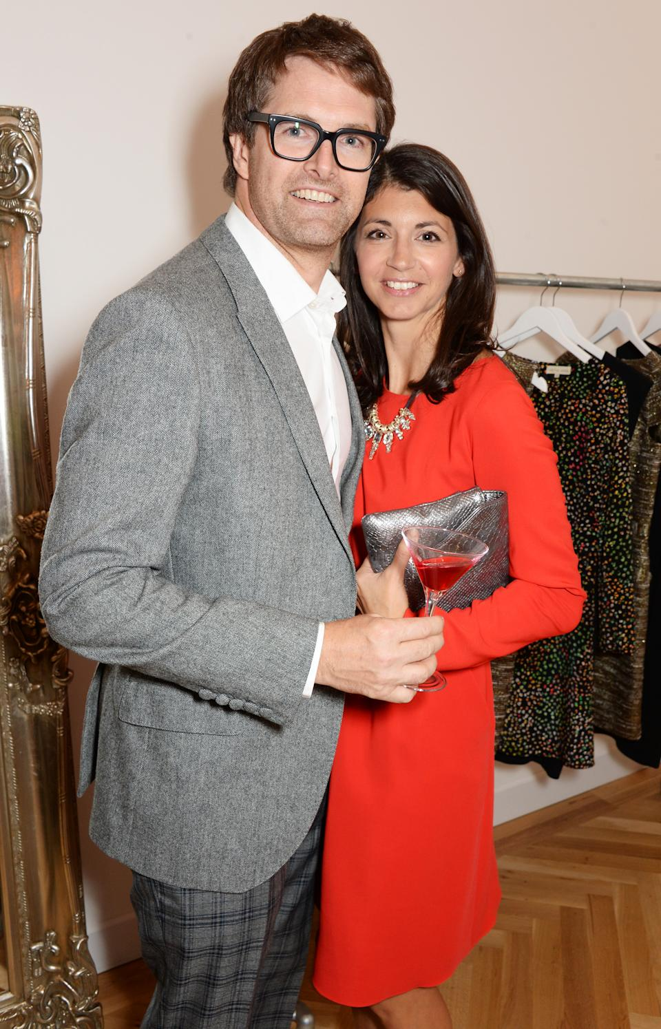 LONDON, ENGLAND - SEPTEMBER 23:  Oliver Tress (L) and Gina Coladangelo attend the launch of designer and entrepreneur Tabitha Webb's first retail store 'Tabitha Webb' on Elizabeth St, Belgravia on September 23, 2014 in London, England.  (Photo by David M. Benett/Getty Images for Tabitha Webb)