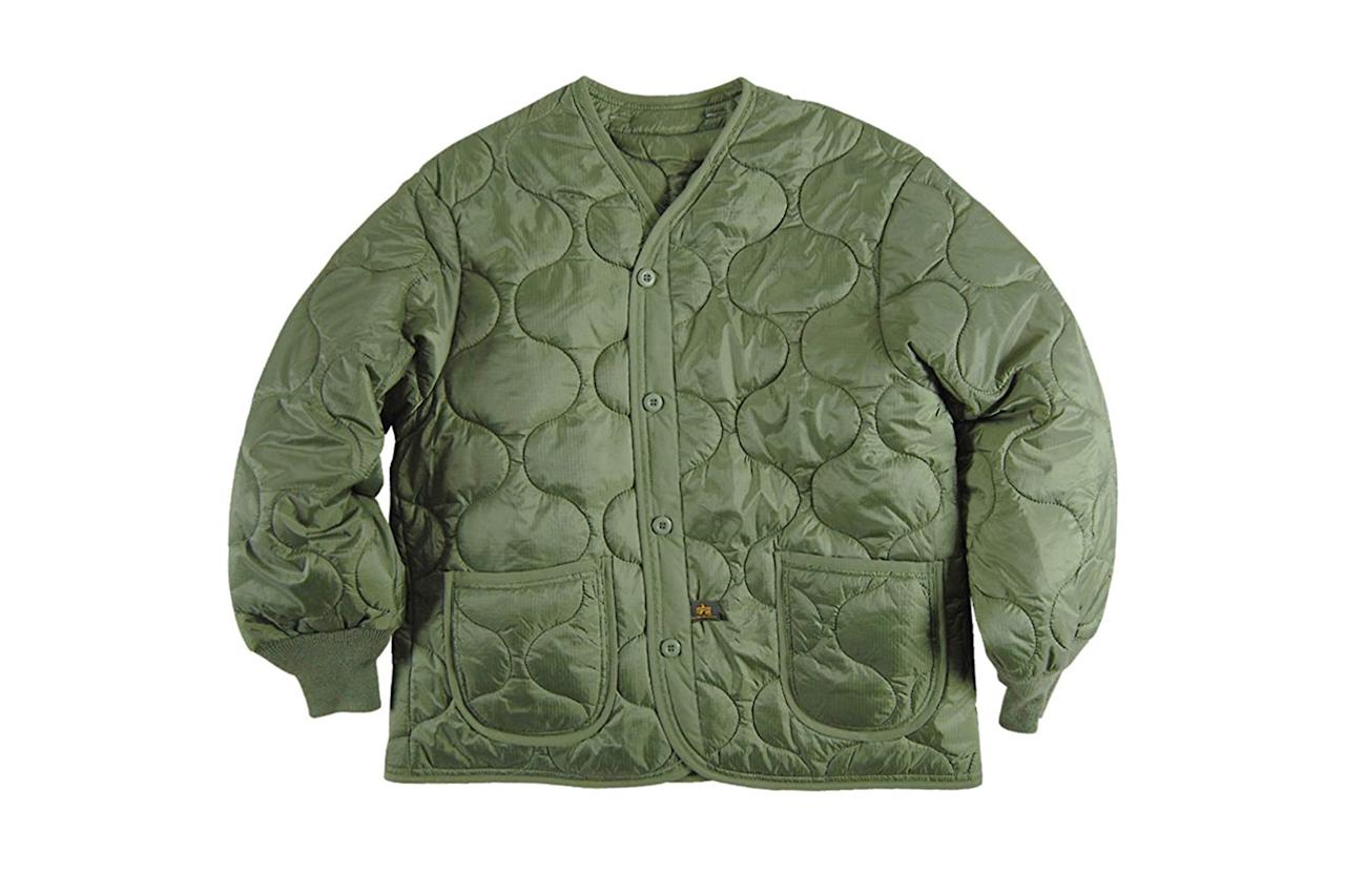 """$85, Amazon. <a href=""""https://www.amazon.com/Alpha-Industries-Liner-Olive-X-Large/dp/B002IAIXIQ?ref_=ast_sto_dp&th=1&psc=1"""">Get it now!</a>"""