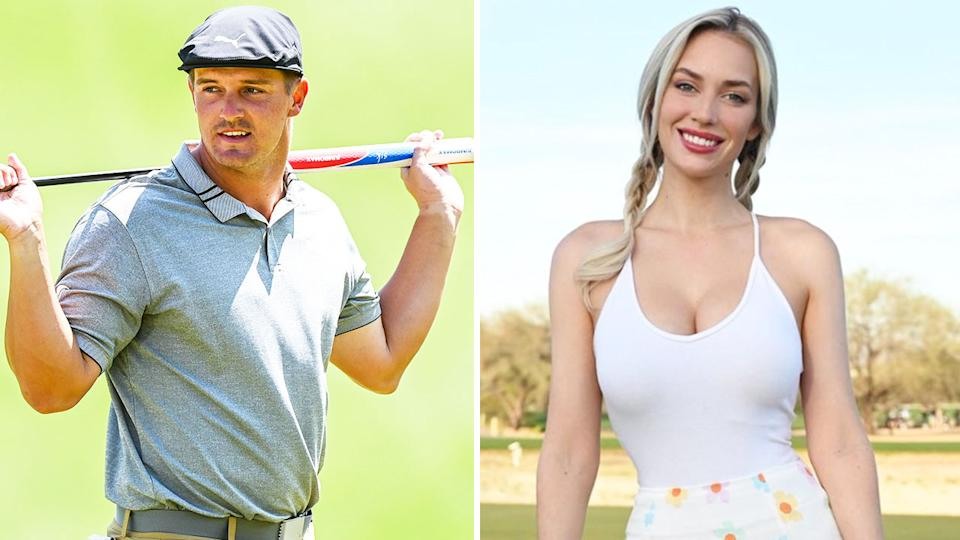 Instagram sensation Paige Spiranac (pictured right) posing for a photo and Bryson DeChambeau (pictured left) carrying his golf club.