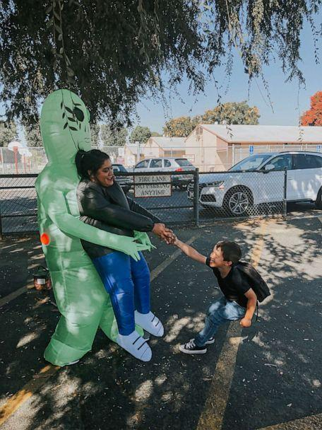 PHOTO: Lucy Georgescu dressed up in various costumes to pick her son, Jacob, up from Carpenter Elementary School in Downey, California. The working mother said she wanted to make school pickup special for him. (Courtesy Lucy Georgescu)