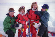 <p>William and Harry either side of their cousins Princess Beatrice and Princess Eugenie, on a skiing holiday in Klosters, Switzerland, in January 1995. (Julian Parker/UK Press via Getty Images)</p>