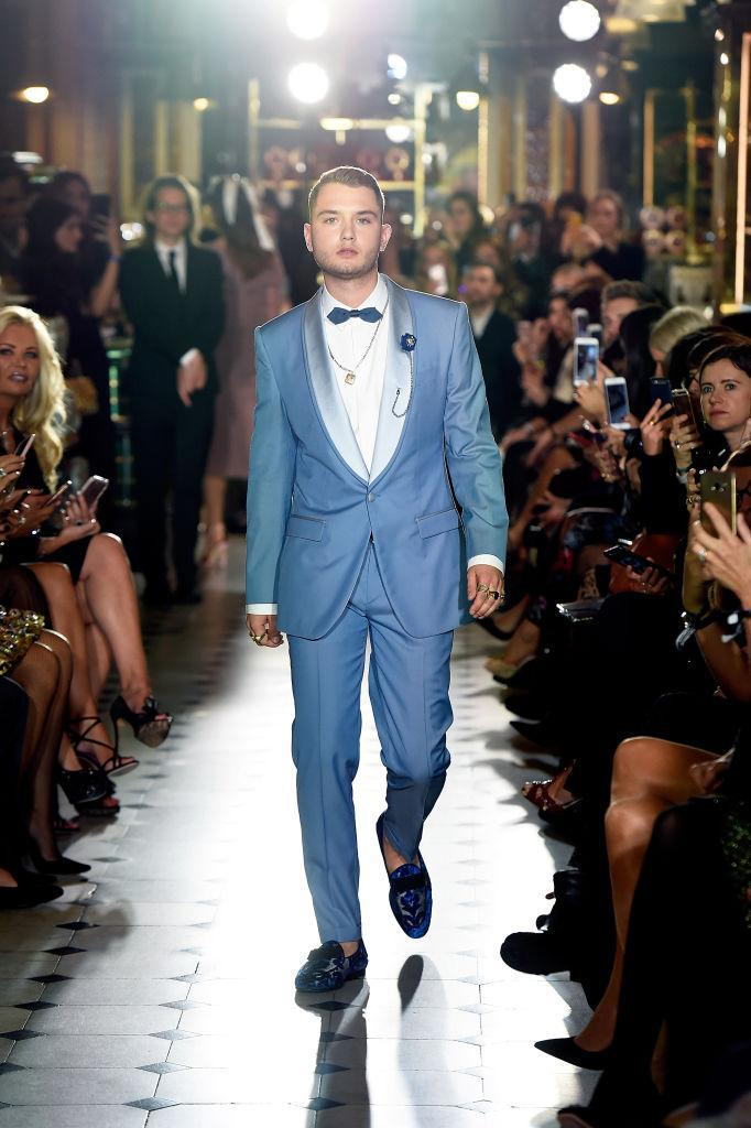 Rafferty Law donned a powder blue suit for the runway event. (Photo: Getty)