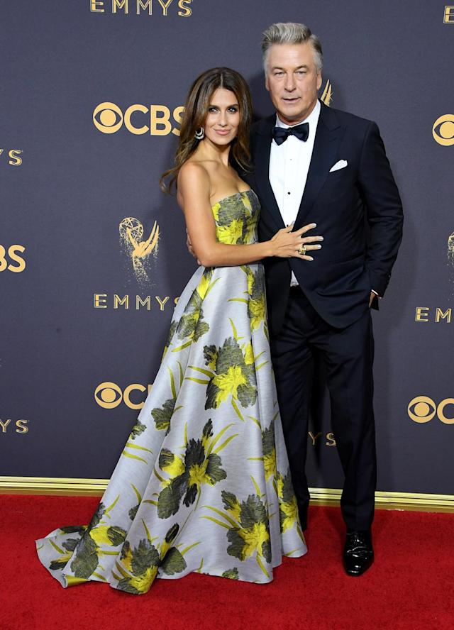 <p>Baldwin's wife stunned in Badgley Mischka, wearing an array of summery shades and bold print.(Photo: Getty Images) </p>