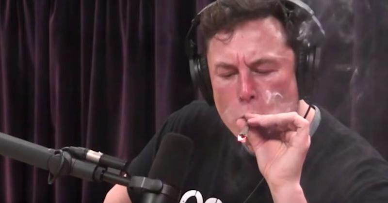 Elon Musk puffs on marijuana joint during live interview
