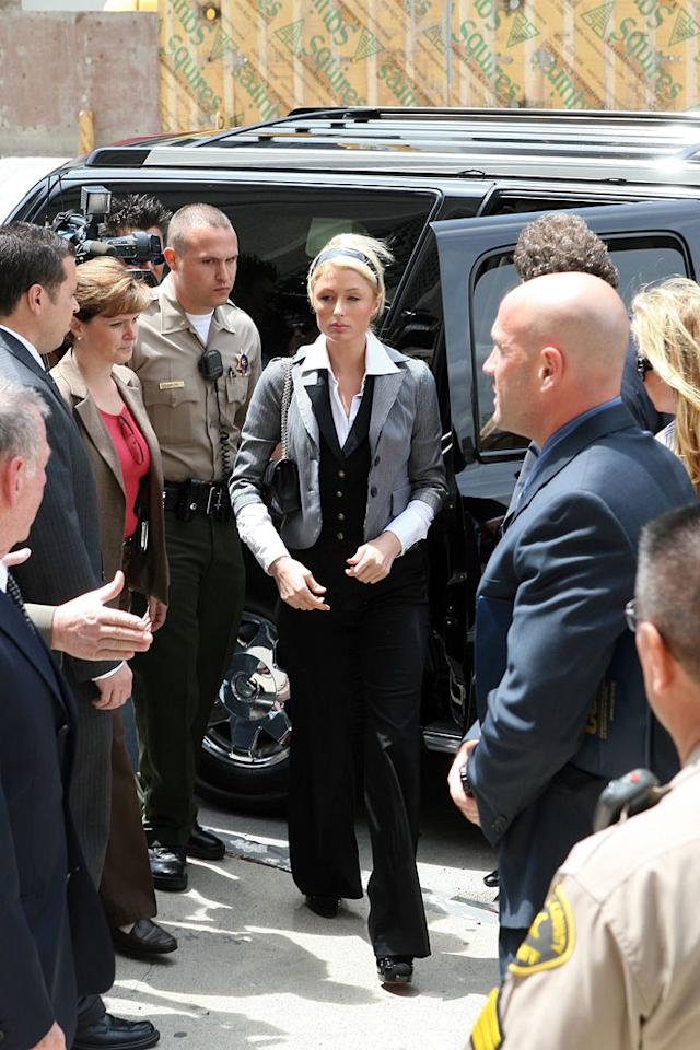 "Paris Hilton heads to court to determine her fate. Don't look so serious. MWD/<a href=""http://www.x17online.com"" target=""new"">X17 Online</a> - May 4, 2007"