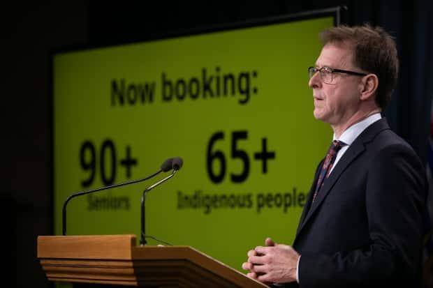Health Minister Adrian Dix provides an update on COVID-19 cases in B.C. on March 8, 2021.