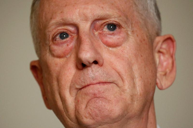 US Defence Secretary Jim Mattis speaks with reporters after his arrival in Tel Aviv on April 20, 2017 (AFP Photo/JONATHAN ERNST)