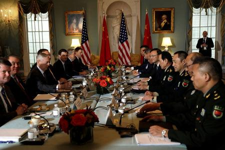 U.S. Defense Secretary James Mattis, Secretary of State Mike Pompeo meet with Chinese Minister of National Defense Gen. Wei Fenghe and Chinese Communist Party Office of Foreign Affairs Director Yang Jiechi during  the second U.S. - China Diplomatic and Security Dialogue at the State Department in Washington, U.S., November 9, 2018. REUTERS/Yuri Gripas