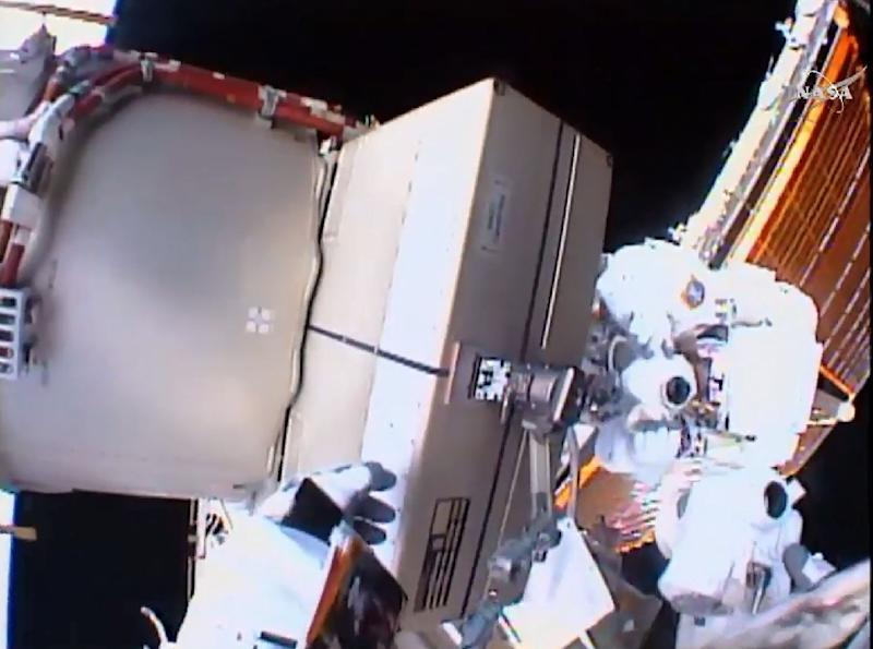 This NASA video grab shows astronauts Tim Kopra (L) and Tim Peake (R) as they replace a failed unit and equipment at the International Space Station on January 15, 2016 (AFP Photo/)