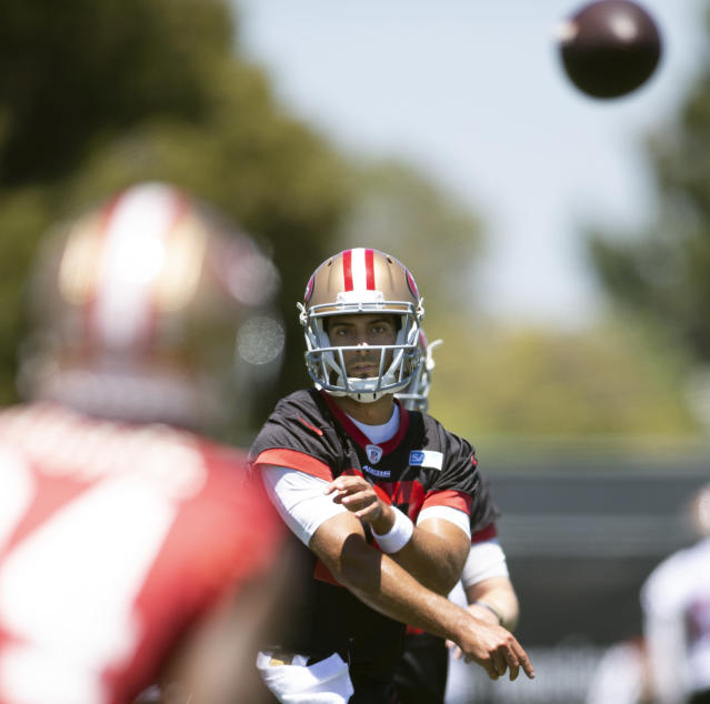 San Francisco 49ers quarterback Jimmy Garoppolo (10) throws a pass during NFL football practice at the team's headquarters in Santa Clara, Calif., Tuesday, June 12, 2018. (AP Photo/D. Ross Cameron)