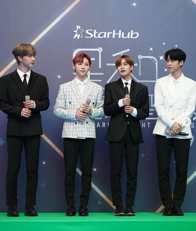 (From left to right) AB6IX members Lim Young Min, Jeong Woong, Lee Dae Hwi and Kim Dong Hyun. (PHOTO: StarHub)