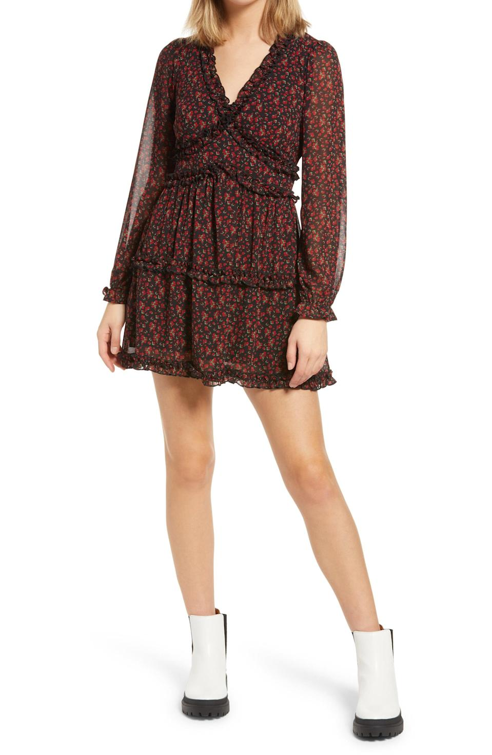 <p>We love the relaxed yet put-together silhouette of this <span>Row A Floral Ruffle Long Sleeve Minidress</span> ($29, originally $49).</p>