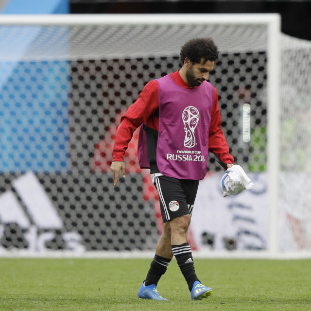 Egypt's Mohamed Salah leaves the field after the group A match between Egypt and Uruguay at the 2018 soccer World Cup in the Yekaterinburg Arena in Yekaterinburg, Russia, Friday, June 15, 2018. (AP Photo/Mark Baker)