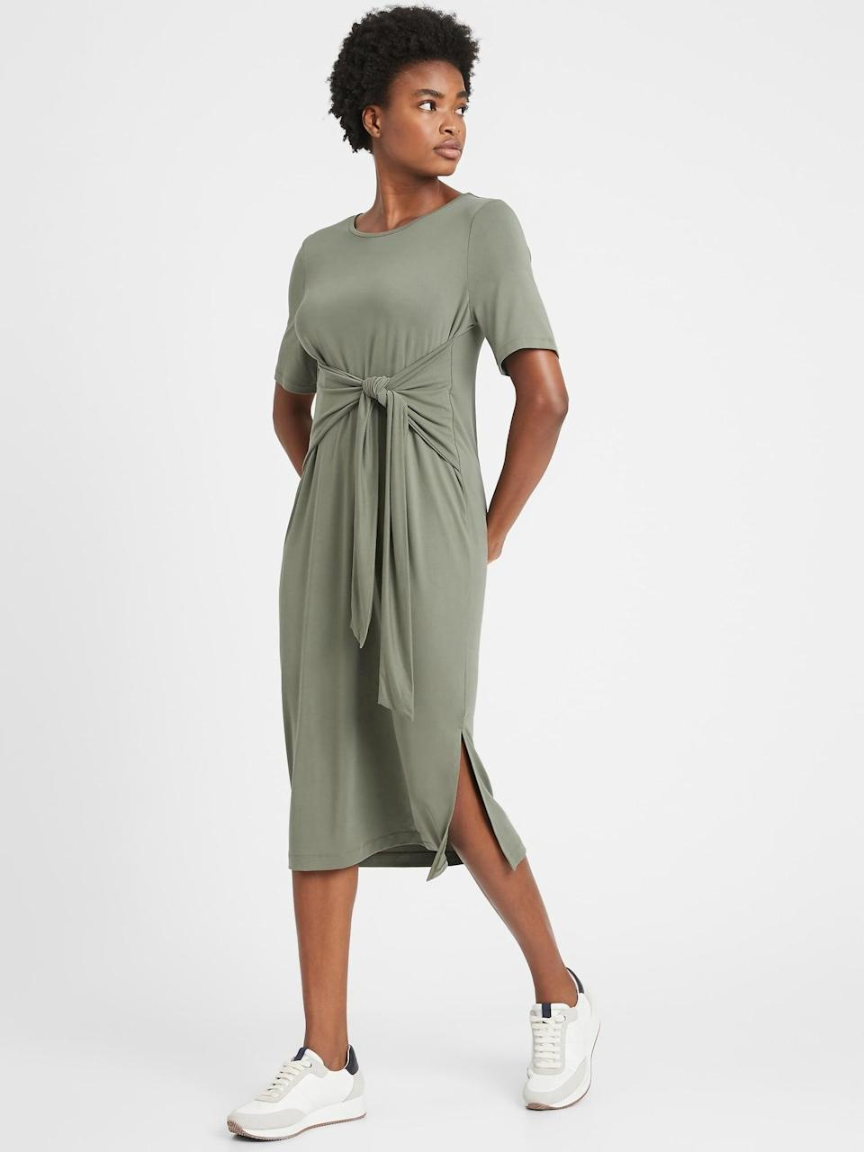 <p>Pair a <span>Banana Republic Sandwash Modal Twist-Front Dress</span> ($39, originally $99) with sneakers and a denim jacket for spring. </p>
