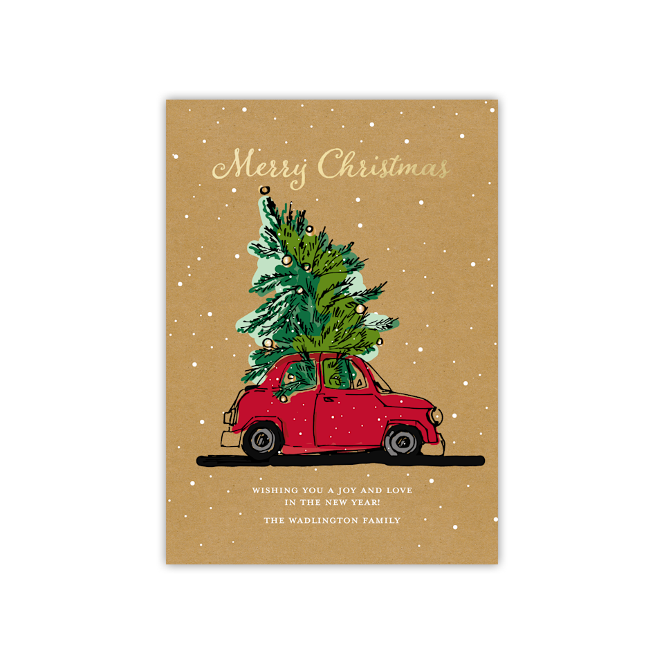 """<h3><strong>Walmart</strong></h3><br>Don't sleep on mega-retailer Walmart as a fast, easy, and affordable solution for crafting holiday greeting cards this season — the understated yet stylish options cover a range of customizable and festive designs. <br><br>Shop <a href=""""https://www.walmart.com/browse/home/christmas-holiday-cards/4044_133224_5679069_6976977"""" rel=""""nofollow noopener"""" target=""""_blank"""" data-ylk=""""slk:Walmart"""" class=""""link rapid-noclick-resp"""">Walmart </a><br><br><strong>Gartner Studios</strong> Personalized Traveling Tree Card, $, available at <a href=""""https://go.skimresources.com/?id=30283X879131&url=https%3A%2F%2Fwww.walmart.com%2Fip%2FPersonalized-Holiday-Card-Traveling-Tree-5-x-7-Flat%2F231429293"""" rel=""""nofollow noopener"""" target=""""_blank"""" data-ylk=""""slk:Walmart"""" class=""""link rapid-noclick-resp"""">Walmart</a>"""