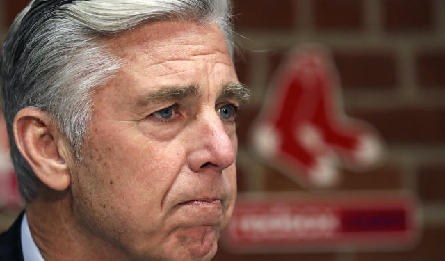 Boston Red Sox President of Baseball Operations Dave Dombrowski listens to a reporter's question during a baseball news conference at Fenway Park in Boston, Thursday, Nov. 1, 2018. (AP Photo/Charles Krupa)