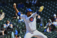 Chicago Cubs relief pitcher Pedro Strop delivers during the sixth inning of a baseball game against the Atlanta Braves Friday, April 16, 2021, in Chicago. (AP Photo/Matt Marton)