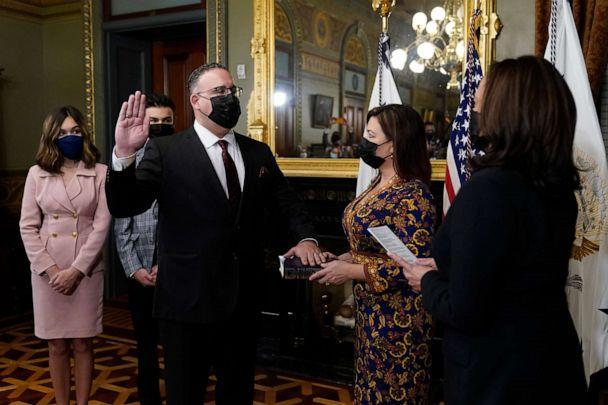 PHOTO: Miguel Cardona is ceremonially sworn in as Education Secretary by Vice President Kamala Harris in the Eisenhower Executive Office Building in the White House complex, March 2, 2021.  (Carolyn Kaster/AP)