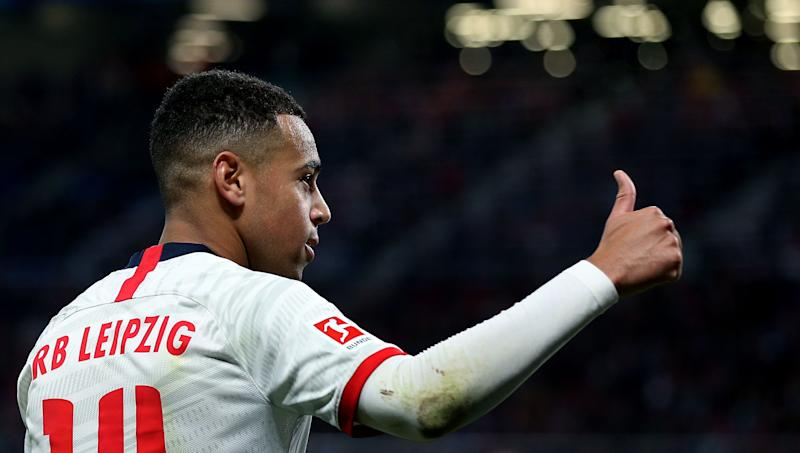 Leipzig's US midfielder Tyler Adams reacts during the German first division Bundesliga football match RB Leipzig v FC Augsburg in Leipzig, eastern Germany, on December 21, 2019. (Photo by Ronny Hartmann / AFP) / DFL REGULATIONS PROHIBIT ANY USE OF PHOTOGRAPHS AS IMAGE SEQUENCES AND/OR QUASI-VIDEO (Photo by RONNY HARTMANN/AFP via Getty Images)
