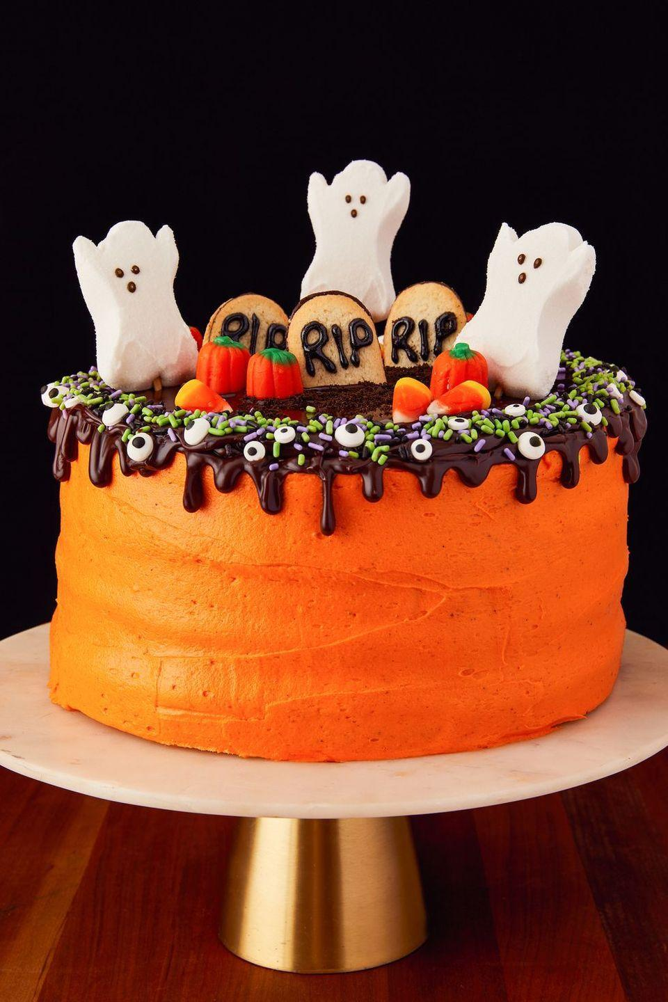 """<p>The ultimate Halloween cake. </p><p>Get the recipe from <a href=""""https://www.delish.com/cooking/recipe-ideas/a23712647/halloween-layer-cake-recipe/"""" rel=""""nofollow noopener"""" target=""""_blank"""" data-ylk=""""slk:Delish"""" class=""""link rapid-noclick-resp"""">Delish</a>. </p>"""