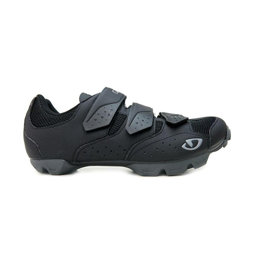 "<p><strong>Giro</strong></p><p>giro.com</p><p><strong>$100.00</strong></p><p><a href=""https://www.giro.com/p/carbide-r-ii-mountain-bike-shoes/350060000200000066.html"" rel=""nofollow noopener"" target=""_blank"" data-ylk=""slk:Shop Now"" class=""link rapid-noclick-resp"">Shop Now</a></p><p>This is a sturdy pick, made with mountain terrain in mind but great for indoor use as well. The chunky outsole makes for a solid foundation if you anticipate walking around before and after a class—or chasing after little ones mid-ride. </p>"