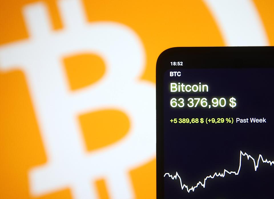 Bitcoin virtual cryptocurrency price is displayed on a phone screen in this photo taken on April 13, 2021 in Kyiv, Ukraine. Bitcoin cryptocurrency a surge of over 60,000 $ US dollars, as media reported on April 13, 2021 in Kyiv, Ukraine. (Photo Illustration by STR/NurPhoto via Getty Images)